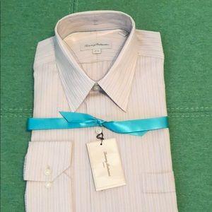 NWT Tommy Bahama LS Khaki Stripe Dress Shirt